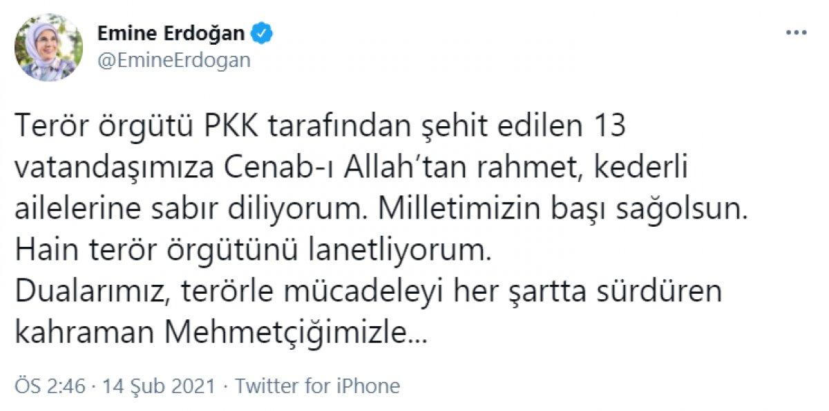 Emine Erdoğan dan taziye mesajı #1