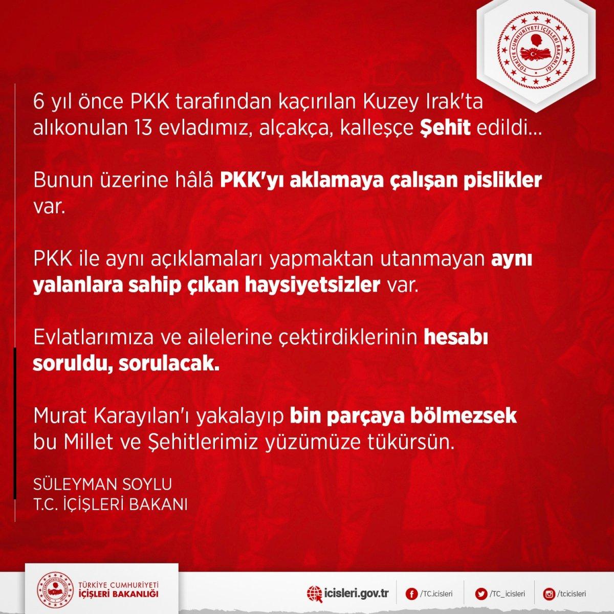 Süleyman Soylu: Karayılan'ı yakalayıp bin parçaya bölmezsek şehitlerimiz yüzümüze tükürsün #1