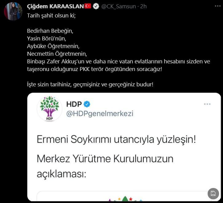 AK Partili Karaaslan'dan HDP'nin 1915 olaylarına ilişkin açıklamalarına tepki